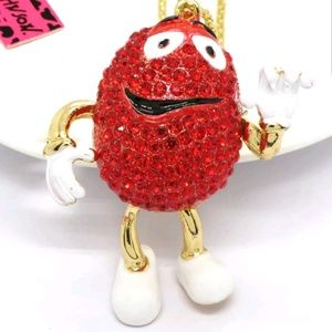 Betsey Johnson Red M&M Pendant Necklace Fire!!^*